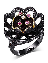 flower style design Cubic Zirconia Ring 18K Gold & Black Plated Special Party cocktail Rings for women Copper Rings