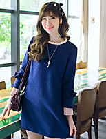 Women's Patchwork Blue Dress , Casual Round Neck Long Sleeve