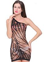 Women's One Shoulder Stripe Transparent Ultra Sexy Nightwear,Nylon