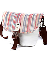 One-shoulder Korean Style White Stripe Vintage Camera Bag 24*13*20