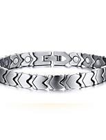 Unisex Jewelry Health Care Silver Titanium Magnet Bracelet