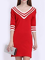 Women's Striped Red / White / Black Pullover,Street chic ½ Length Sleeve