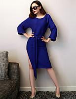 VERRAGEE® Women's Crew Neck Long Sleeve Knee-length Dress-L079