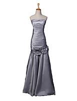 Formal Evening Dress Fit & Flare Strapless Floor-length Taffeta with Flower(s) / Side Draping