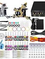 professionele en complete 2 pistool tattoo machine kit 20st inkt voeding naald grips tips