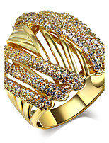 Latest designs Luxury jewelry 6 lines Pave setting White Cubic Zirconia Center No stone Brass Rings for women