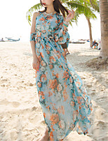 SINCE THEN Women's Sexy / Boho Floral Swing Dress,Round Neck Maxi Polyester