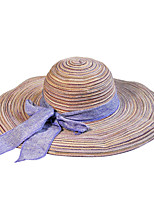 Women Straw Floppy Cotton Foldable Big Bow Large Brim Wide-brimmed Hat