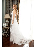 A-line Wedding Dress-White Court Train Spaghetti Straps Tulle