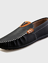 Men's Shoes PU Casual Loafers Casual Flat Heel Black / White / Orange