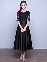 Formal Evening Dress A-line Jewel Tea-length Lace / Satin with Sash / Ribbon