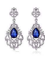 Luxury Drops Shape Cubic Zrconia Crystal Drop Earrings Jewelry for Lady(5.9*2.9cm)