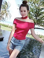 Women's Solid Red / White / Black Pullover,Street chic Short Sleeve