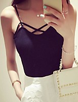 Women's Solid White / Black Vest,Street chic Sleeveless