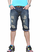 Summer Brand Fashion Denim Shorts Male Jeans Harem Mens Jogger Ankle Ripped Wave Shorts Pants