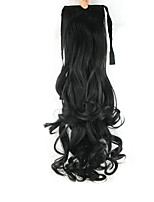 Length Black Wig Ponytail 55CM Synthetic Pearvolume High Temperature Wire Color 1B