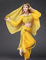 Belly Dance Outfits Women's Performance Chiffon Sequins 4 Pieces Dark Purple / Light Blue / Red / Royal Blue / Yellow
