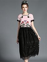 Women's Vintage Retro High  Plus Size Embroidery Lace Hollow Patchwork Midi Long Dress