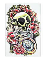 8PCS Waterproof Rose Flower Skull Picture Tattoo Design Temporary for Women Men Body Chest Waist Art Tattoo Sticker