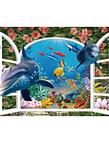 JAMMORY Art Deco Wallpaper Contemporary Wall Covering,Canvas Stereoscopic Large Mural Underwater World Dolphin