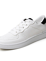 Men's Shoes PU Casual Fashion Sneakers Casual Flat Heel White / Black and White