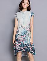 Women's Vintage Print Plus Size / Loose Dress,Stand Asymmetrical Silk