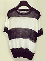 Women's Striped Black / Brown / Gray Pullover,Street chic Short Sleeve