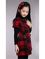 Girl's Casual/Daily Print Dress,Rayon Winter / Fall Red / Beige