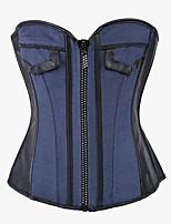 YUIYE® Women Sexy Lingerie Waist Training Bustier Tops Shapewear Waist Cincher Blue Jean Diamond Zip Corset