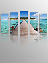 Beauty Sea on Canvas wood Framed 5 Panels Ready to hang for Living Decor