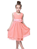 Kids 2016 Summer Girls Pink/Navy Casual/Party Dress Birthday Gift/Princess Chiffon Daily Sleeveless Knee Length Dress