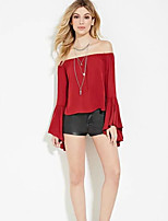 Women's Casual/Daily Sexy / Street chic Summer Blouse,Solid Boat Neck Long Sleeve Red / White / Black / Orange Polyester Thin