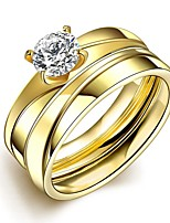 lureme® Golden Plated Stainless Steel with Big Zircon Promising Ring