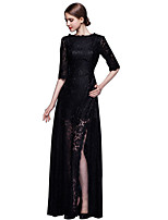 Formal Evening Dress Sheath/Column Jewel Floor-length Lace