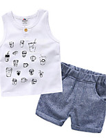 Cartoon Floral Printed Sleeveless Vest Boy Shorts and Soft Pants Casual Suit Two-Piece