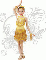 Latin Dance Children's Performance Spandex Sequins / Tassel(s) Strap Backless Dresses