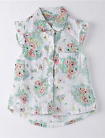 Girl's Print Shirt,Cotton Summer White