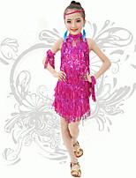 Latin Dance Children's Performance Spandex Sequins / Tassel(s) Backless Dresses Fuchsia