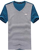 Men's Fashion Patchwork  V Collar Slim Fit Short Sleeve T-Shirt, Cotton/Casual