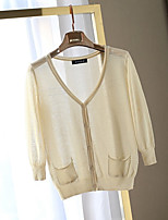 Women's Solid Pink / Beige / Yellow Cardigan,Simple / Street chic Long Sleeve