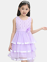 Girl's Casual/Daily Patchwork Dress,Cotton / Polyester All Seasons Pink / Purple