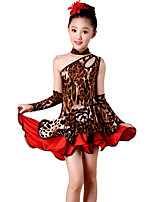 Latin Dance Dresses Children's Performance Spandex / Polyester Leopard Off Shoulder Dance Costumes