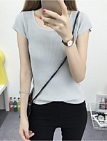 Women's Solid White / Black / Gray Pullover,Street chic Short Sleeve