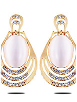 The New OVAL DIAMOND Opal EarringsImitation Diamond Birthstone
