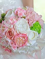 Bouquets de Noiva Redondo Lírios / Peônias Buquês Casamento / Festa / noite Rosa Poliéster / Cetim / Espuma / Flôr Seca 10.24
