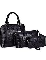 Women Bag Sets PU All Seasons Event/Party Shell Zipper Khaki Wine Fuchsia Black White