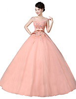Formal Evening Dress-Orange Ball Gown Scoop Floor-length Organza / Stretch Satin