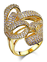 New Marriage Wave Women Gift Platinum 18K Gold Plated Pave setting White Cubic Zirconia Brass Rings for women