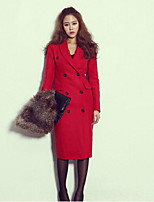 Women's Going out Simple Pea Coats,Solid Notch Lapel Long Sleeve Red / Black Cotton / Polyester