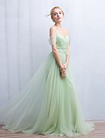 Formal Evening Dress A-line Off-the-shoulder Sweep/Brush Train Tulle